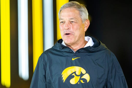 Iowa head coach Kirk Ferentz walks out of the tunnel before a NCAA non conference football game, Saturday, Aug. 31, 2019, at Kinnick Stadium in Iowa City, Iowa.