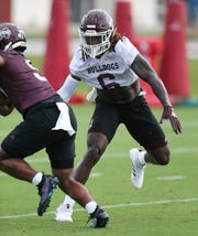 Mississippi State's Willie Gay Jr. (6) is not active for the Bulldogs' season opener against the Louisiana Ragin' Cajuns.