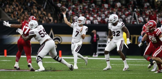 Mississippi State's Tommy Stevens (7) throws a pass in the first quarter. Mississippi State played Louisiana in the opening game of the 2019 season on Saturday, August 31, 2019 in the Superdome in New Orleans.. Photo by Keith Warren