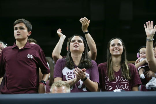 MSU fans cheer for the Bulldogs. Mississippi State played Louisiana to open the 2019 football season on Saturday, August 31, 2019 in the Superdome in New Orleans. Photy by Keith Warren