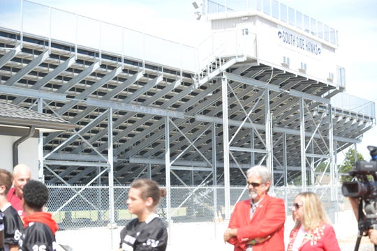 Pictured are the new home side bleachers that were built to renovate South Side High's football stadium. The bleachers have attached restrooms, concession stands and ticket booths.