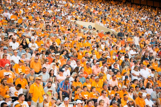 Fans watch the second half of Tennessee's game against Georgia State last weekend.