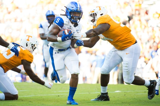 Georgia State running back Tra Barnett (5) runs for a touchdown during the second half of a Tennessee Vols football game against Georgia State in Neyland Stadium, Saturday, Aug. 31, 2019.