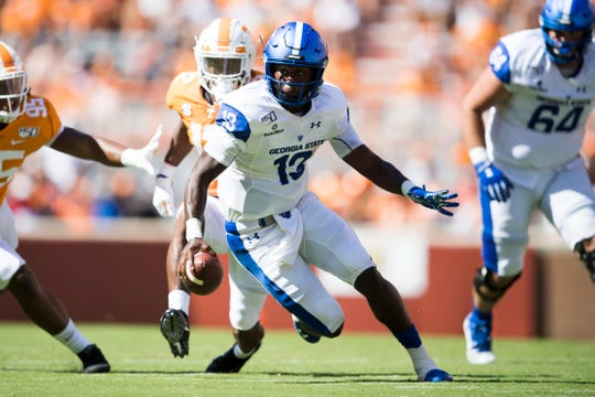 Georgia State quarterback Dan Ellington (13) runs the ball during the first half of a Tennessee Vols football game against Georgia State in Neyland Stadium, Saturday, Aug. 31, 2019.