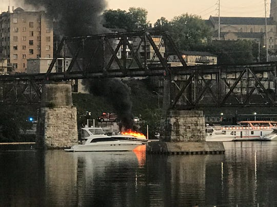 A boat in the Vol Navy caught fire Saturday, Aug. 31, 2019, ahead of Tennessee football's season opener against Georgia State at home.