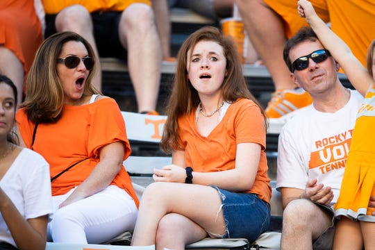 Tennessee fans react after Georgia State makes an interception during the fourth quarter at Neyland Stadium in Knoxville, Tennessee on Saturday, August 31, 2019.
