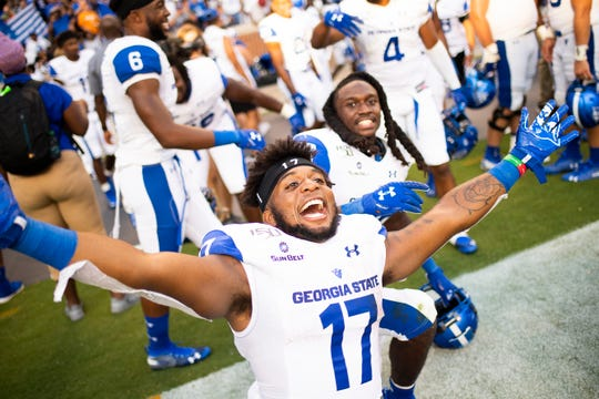 Georgia State running back Destin Coates (17) celebrates after defeating Tennessee 38-30 at Neyland Stadium in Knoxville, Tennessee on Saturday, August 31, 2019.