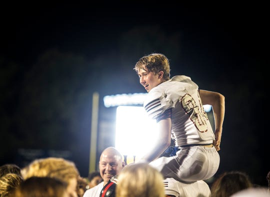 West's William Walker (84) celebrates with his fans during a TSSAA high school football game between Farragut and West at Farragut High School, Friday, Aug. 30, 2019. West beat Farragut 24-13.