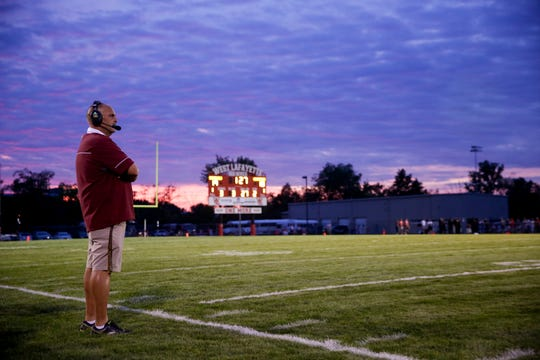 McCutcheon head coach Ken Frauhiger watches the game during the second quarter of an IHSAA football game, Friday, Aug. 30, 2019 at Gordon Straley Field in West Lafayette. West Lafayette won 46-16.