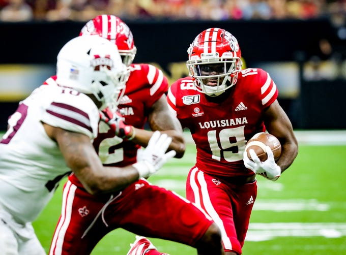 UL WR Jamal Bell turns the corner for yardage in the football game between UL and Mississippi State University at the Superdome in New Orleans, Louisiana on August 31, 2019.