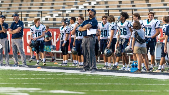 Skarks head coach Josh Fontenot as The Southside Sharks take on the Notre Dame Pios in the 2019 Kiwanis Jamboree at Cajun Field.  Friday, Aug. 30, 2019.