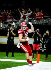 UL TE Nick Ralston scores in the football game between UL and Mississippi State University at the Superdome in New Orleans, Louisiana on August 31, 2019.