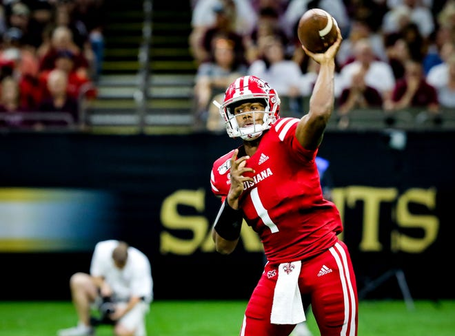UL QB Levi Lewis prepares to throw a pass in the football game between UL and Mississippi State University at the Superdome in New Orleans, Louisiana on August 31, 2019.