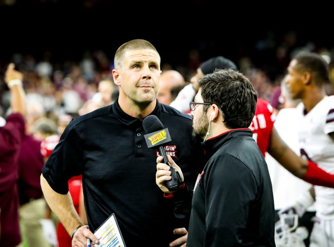 UL Head Coach Billy Napier being interviewed after the game between UL and Mississippi State University at the Superdome in New Orleans, Louisiana on August 31, 2019.