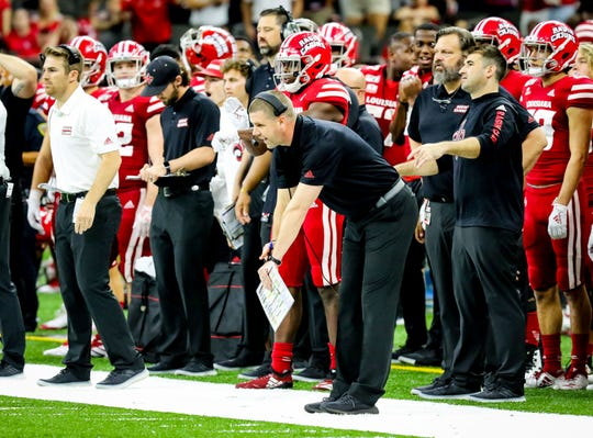 UL Head Coach Billy Napier implores his team to quickly down the ball to kill the clock in the football game between UL and Mississippi State University at the Superdome in New Orleans, Louisiana on August 31, 2019.
