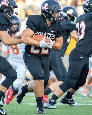 Pinckney's Sal Patierno ran for 130 yards and two touchdowns in a 34-6 victory over Tecumseh on Friday, Aug. 30, 2019.