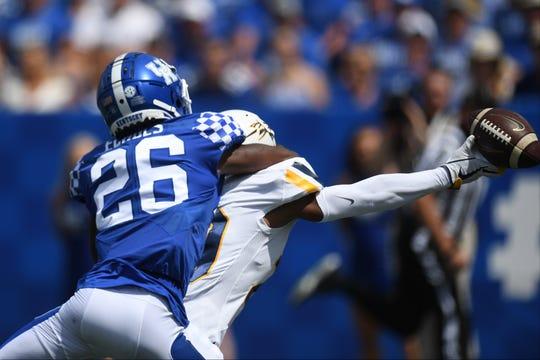 UK CB Brandin Echols breaks up a pass during the University of Kentucky football game against Toledo at Kroger Field in Lexington, Kentucky on Saturday, August 31, 2019.