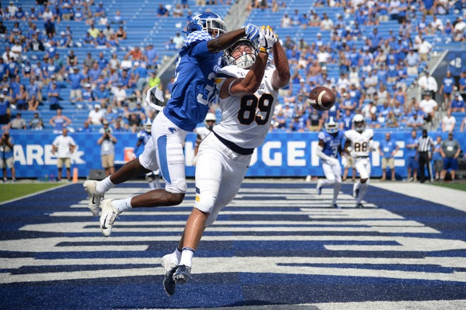UK CB Jamari Brown breaks up a touchdown pass during the University of Kentucky football game against Toledo at Kroger Field in Lexington, Kentucky on Saturday, August 31, 2019.