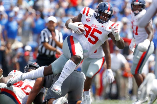 Ole Miss defensive lineman Benito Jones intercepts the ball against the Memphis Tigers at the Liberty Bowl Memorial Stadium on Saturday, August 31, 2019.