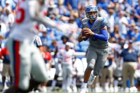 Memphis Tigers quarterback Brady White looks to throw the ball against Ole Miss at the Liberty Bowl Memorial Stadium on Saturday, August 31, 2019.