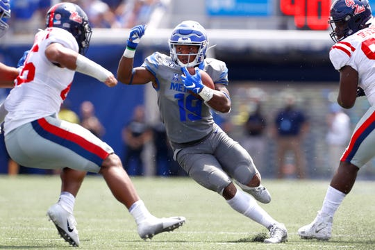 Memphis Tigers running back Kenneth Gainwell carries the ball against Ole Miss at the Liberty Bowl Memorial Stadium on Saturday, August 31, 2019.