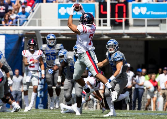 Ole Miss tight end Jason Pellerin catches a pass during the game against Memphis at the Liberty Bowl Memorial Stadium on Aug. 31, 2019.