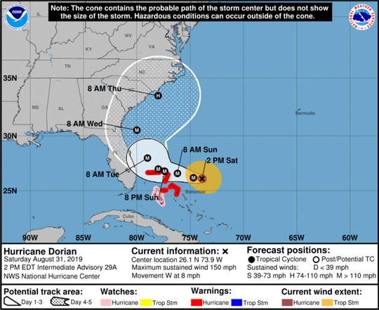 At 2:00 p.m. the eye of Hurricane Dorian was located near latitude 26.1 North, longitude 73.9 West. Dorian is moving toward the west near 8 mph, and a slower westward motion should continue into early next week, according to the National Hurricane Center.