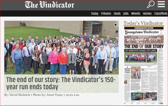 A screenshot of the Youngstown Vindicator website. The newspaper published its final edition today.