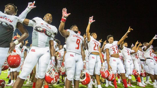 Lee celebrates their second-win to remain undefeated for the season against Lanier.