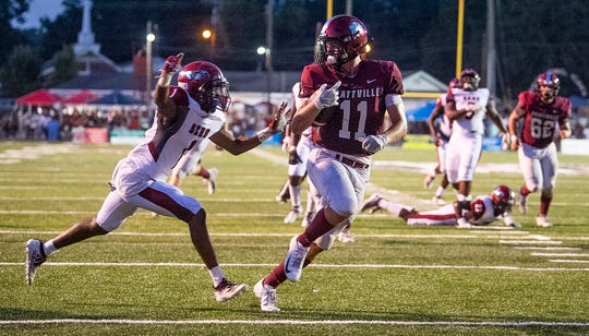 Prattville tight end Taylor Thompson (11) scores a touchdown against Stanhope Elmore in Prattville, Ala., on Friday August 30, 2019.