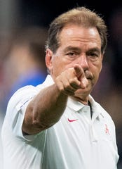 Alabama head coach Nick Saban  during team warm ups before the Chick-fil-A Kickoff Game at Mercedes Benz Stadium in Atlanta, Ga., on Saturday August 31, 2019.