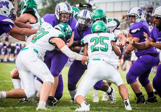 Central faces off against Yorktown at Central Friday, Aug. 30, 2019.
