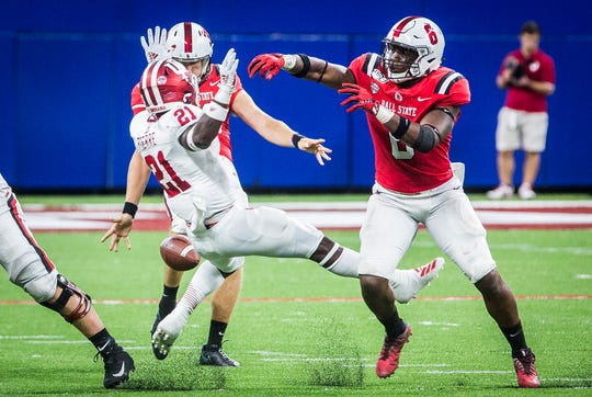 Ball State faces off against IU during the Kickoff Classic at Lucas Oil Stadium Saturday, Aug. 31, 2019. IU defeated Ball State 34-24.