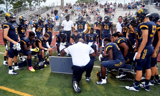 Naples High School Golden Eagles host the Miami Edison Red Raiders during a regular season game. Naples, Friday, Aug. 30, 2019. (Photo by Chris TIlley)