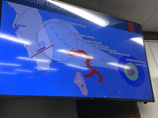 A presentation by Collier County officials shows Hurricane Dorian's projected path as of early Saturday, Aug. 31, 2019.