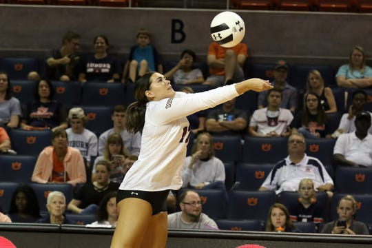 New Mexico State's Krysten Garrison sets the ball during the Aggies' 3-0 match win over Tennessee State on Saturday, Aug. 31, at the War Eagle Invitational in Auburn, Alabama.