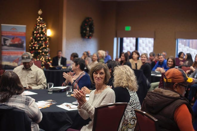 File art shows Navajo Transitional Energy Company Community Benefit Fund recipients gathering for an award luncheon on Dec. 14, 2018 at TownePlace Suites in Farmington.