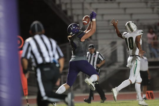 Shadow Hills' Jake Shipley goes up for a pass during the game against Banning High at Shadow Hills High School in Indio, Calif., on Friday, August 30, 2019.