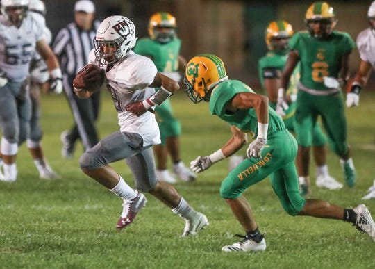 Rancho Mirage and Coachella Valley face off in the first quarter of their high school football game Friday, Aug. 30.
