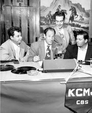 George Strebe and Milt Hicks at KCMJ radio station.