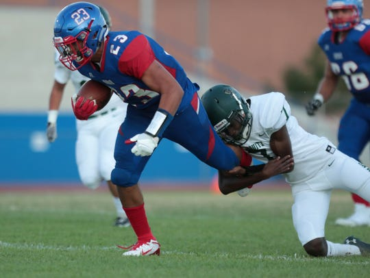 Indio's' Victor Hilario makes a play during the game against Tahquitz High at Indio High School in Indio, Calif., on Friday, August 30, 2019.