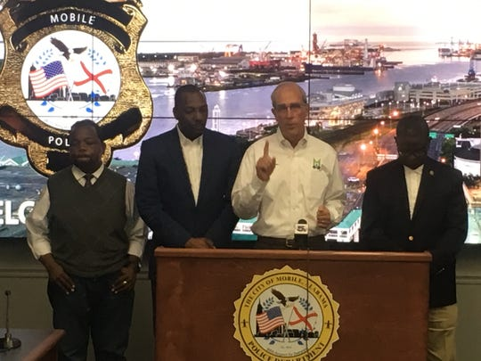 Mobile Mayor Sandy Stimpson during a joint press conference Saturday morning with Mobile Police Chief Lawrence Battiste and Mobile County Public Schools Superintendent Chresal Threadgill