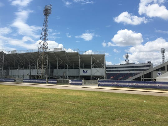 Ladd-Peebles Stadium in Mobile, Alabama, where nine students were sot by another student Friday, Sept. 30, 2019.