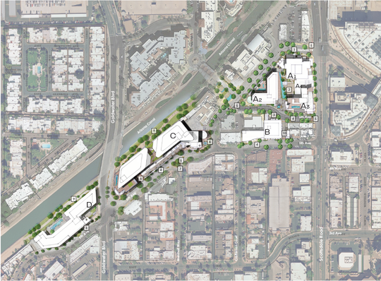 Renderings of Southbridge II, a planned 2 million square-foot mixed-use development along the Arizona Canal in Old Town Scottsdale.