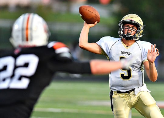 Delone Catholic's Kevin Mowrey throws the ball during football action against York Suburban at York Suburban Senior High School in Spring Garden Township, Friday, Aug. 30, 2019. York Suburban would win the game 42-14. Dawn J. Sagert photo