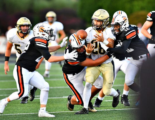 Delone Catholic's Joe Hernanadez, center, fumbles the ball during football action against York Suburban at York Suburban Senior High School in Spring Garden Township, Friday, Aug. 30, 2019. York Suburban would win the game 42-14. Suburban is 3-0 on the season. Dawn J. Sagert photo  Inset image on wide displays