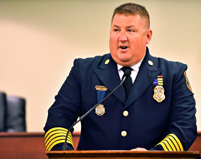 York City Fire Chief Chad Deardorff during the swearing in of York City Fire & Rescue fire officers Capt. Adam Smith, who will serve as Assistant Chief, and Capt. Kevin Pflaum, both assigned to B Platoon, at City Hall in York City, Friday, Aug. 30, 2019. Dawn J. Sagert photo