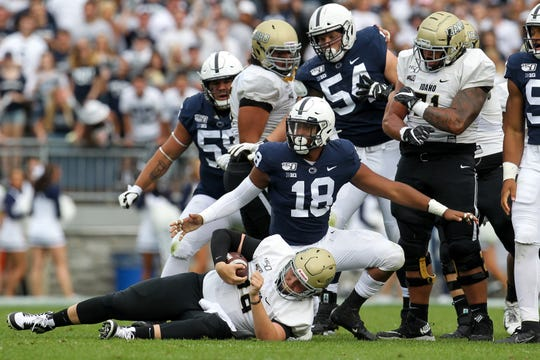 Aug 31, 2019; University Park, PA, USA; Penn State Nittany Lions defensive end Shaka Toney (18) reacts after sacking Idaho Vandals quarterback Colton Richardson (19) during the second quarter at Beaver Stadium. Mandatory Credit: Matthew O'Haren-USA TODAY Sports