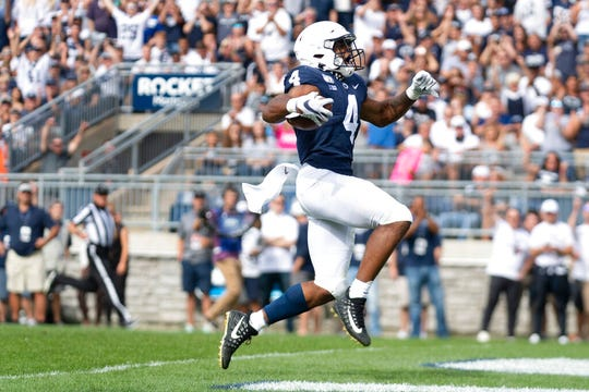 Speedy Penn State running back Journey Brown celebrates his first-quarter touchdown run against Idaho on Aug. 31.