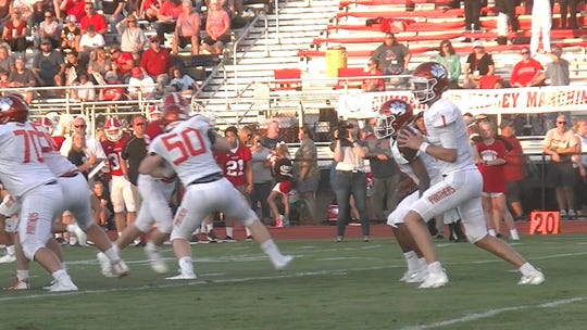 Central York quarterback Beau Pribula drops back to pass against Cumberland Valley on Friday night. Cumberland Valley won, 13-12, to hand Central York its first loss of the season.